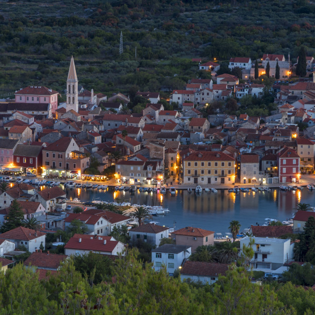"""""""View from the lookout atop Glavica Hill over Stari Grad on Hvar Island at dusk"""" stock image"""