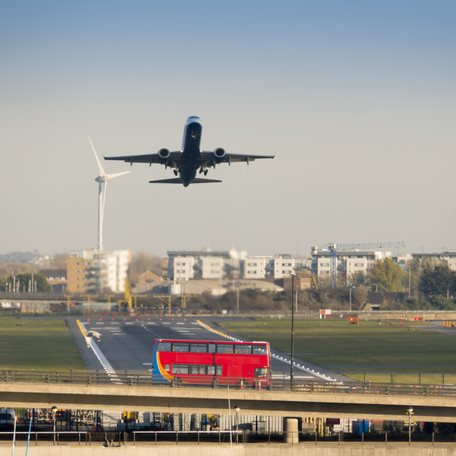"""""""UK, England, London, City Airport Airbus A321 take off"""" stock image"""