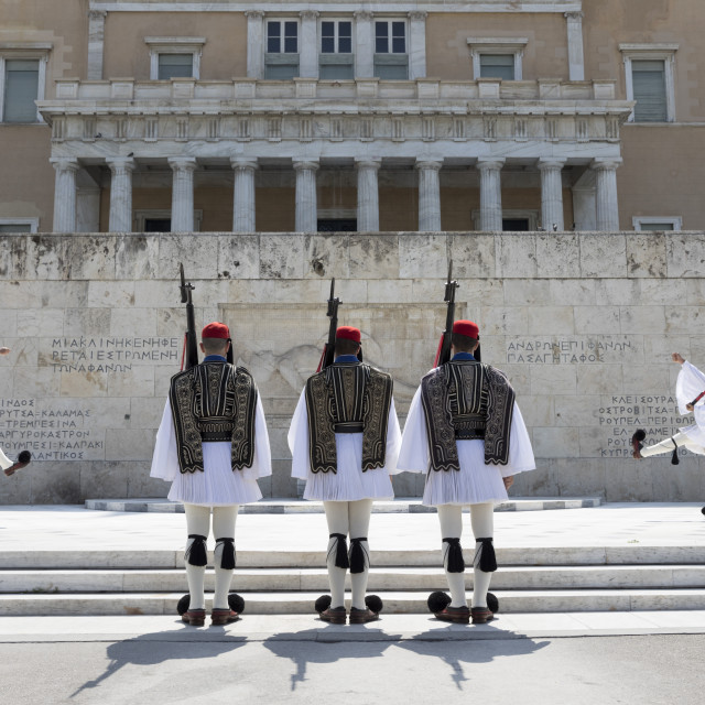 """""""Changing of the guard at the Tomb of the Unknown Soldier in Syntagma Square,..."""" stock image"""
