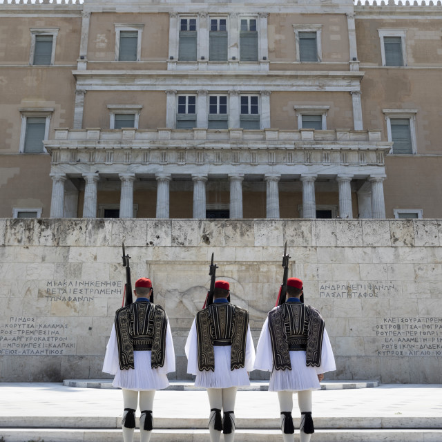 """""""Changing of the guard at the Tomb of the Unknown Soldier in Syntagma Square..."""" stock image"""