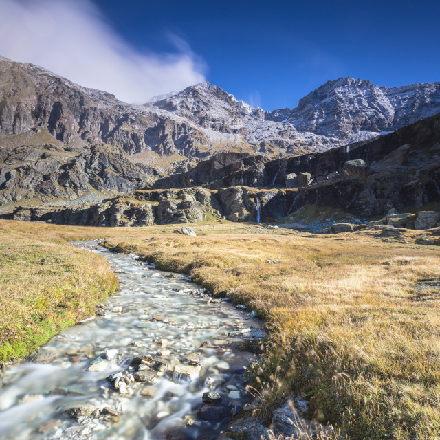 """""""Flowing water of alpine creek, Alpe Fora, Malenco Valley, province of..."""" stock image"""