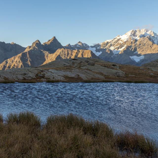 """Alpine lake with Monte Disgrazia on background, Alpe Fora, Malenco Valley,..."" stock image"