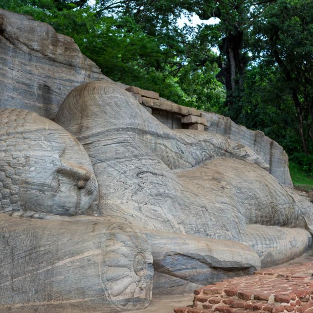 """Reclining Buddha statue, Gal Vihara at Polonnaruwa, a UNESCO World Heritage..."" stock image"