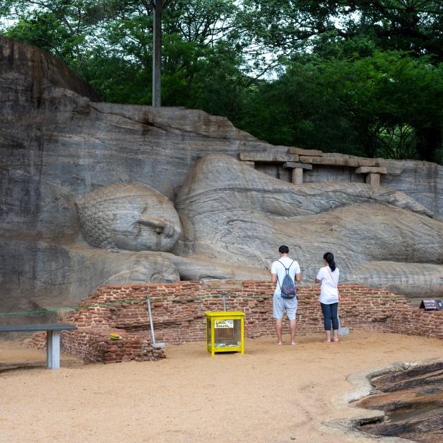 """Buddha statues, Gal Vihara at Polonnaruwa, a UNESCO World Heritage Site in..."" stock image"