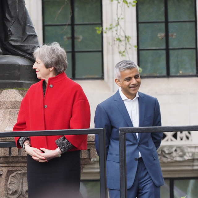 """Theresa May and Sadiq Kahn"" stock image"