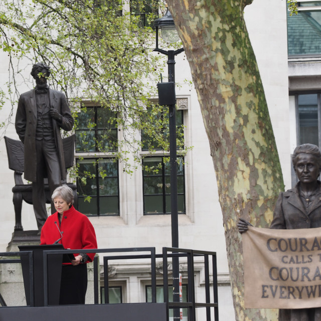 """Theresa May speech at unveiling of Millicent Fawcett Statue"" stock image"