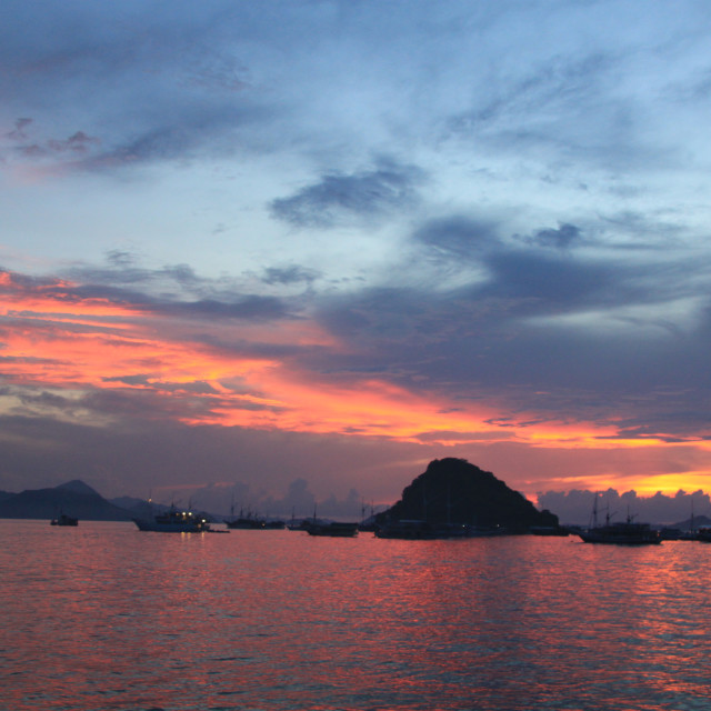 """Sunset, Labuan Bajo, Flores, Indonesia"" stock image"