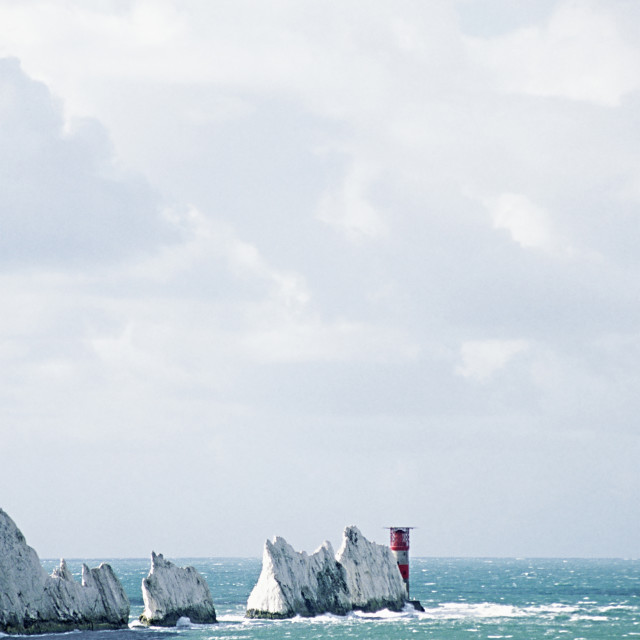 """""""The iconic chalk stack rock formations at the Isle of Wight, UK"""" stock image"""