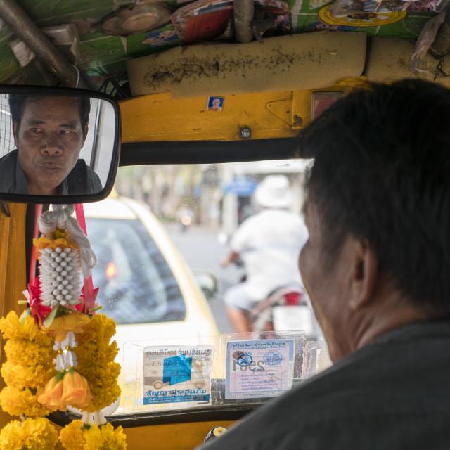 """""""tuk tuk driver in bangkok"""" stock image"""