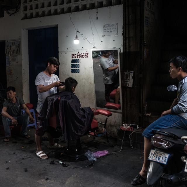"""""""Street hairdresser"""" stock image"""