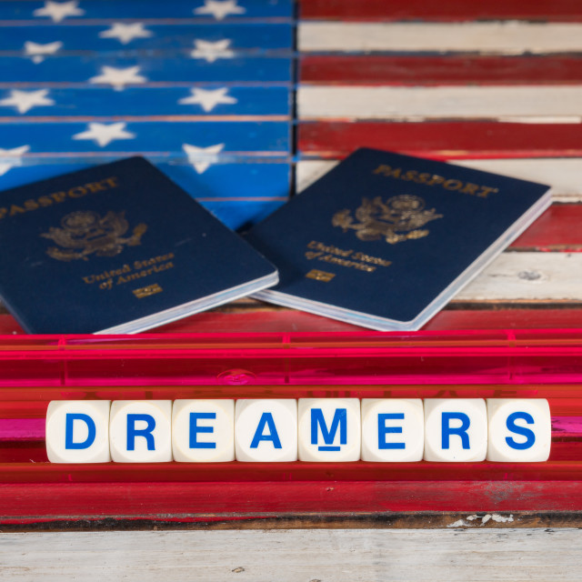 """""""Dreamers concept using spelling letters on US flag"""" stock image"""