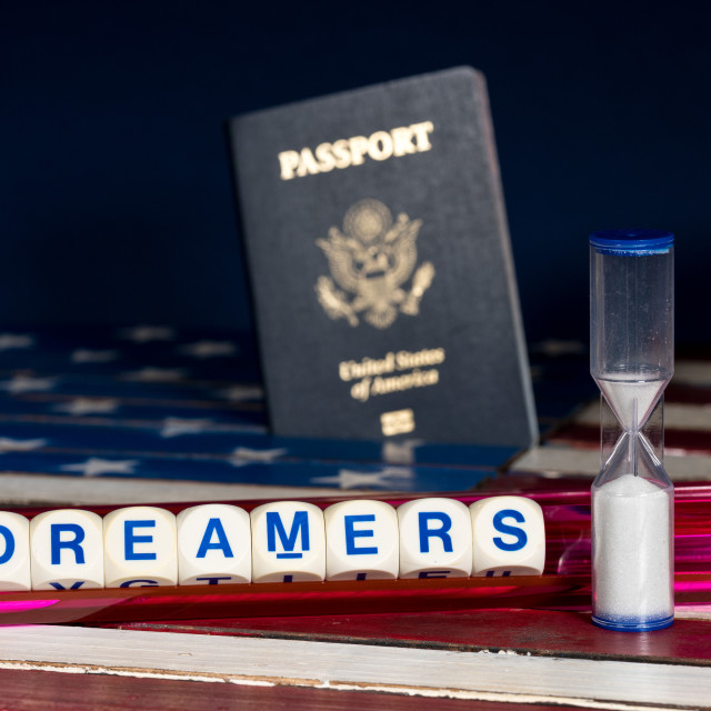"""""""Dreamers concept using spelling letters and hourglass"""" stock image"""