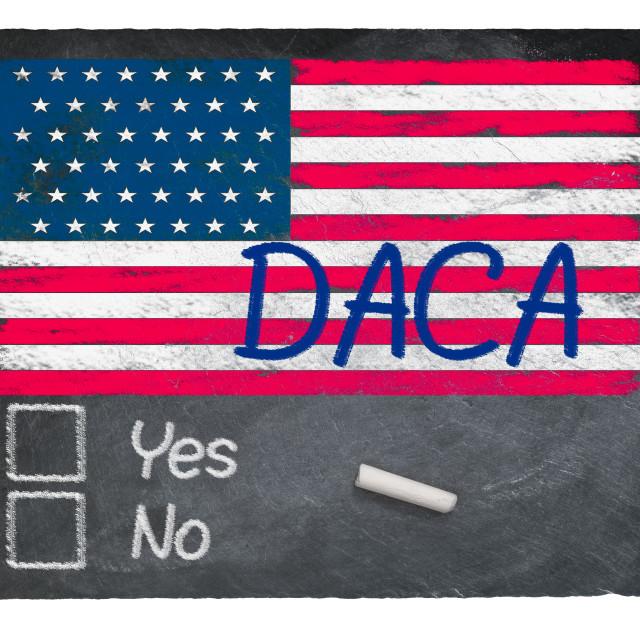 """DACA concept using chalk on slate blackboard"" stock image"