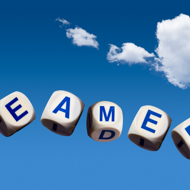 """""""Dreamers concept using spelling letters on blue sky"""" stock image"""