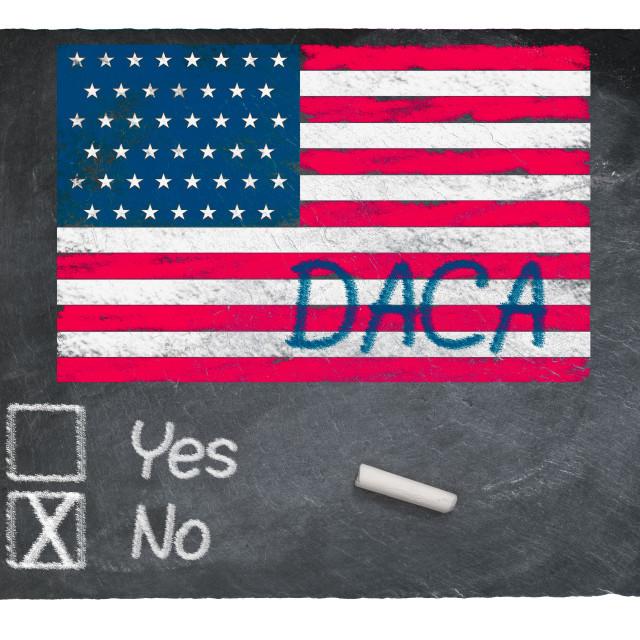 """DACA No concept using chalk on slate blackboard"" stock image"