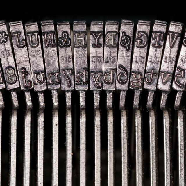 """""""Macro detail of typescript inside electric typewriter"""" stock image"""