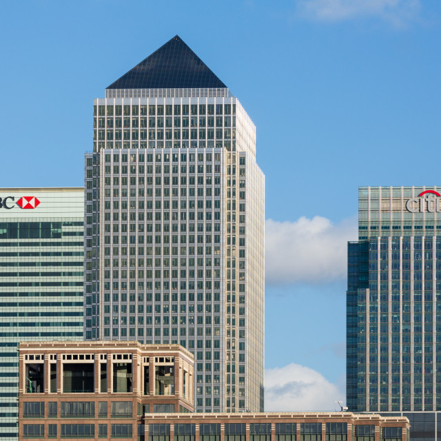 """""""Skyline of Canary Wharf in London"""" stock image"""