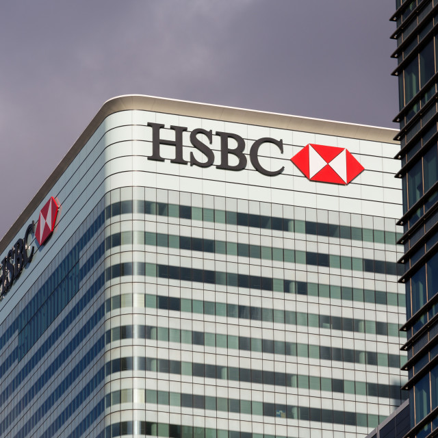 """""""Logo or sign for HSBC in Canary Wharf"""" stock image"""