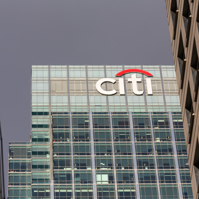 """""""Logo or sign for Citi or Citibank in Canary Wharf"""" stock image"""