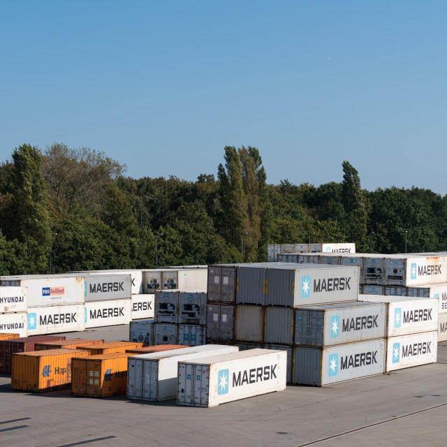 """""""Maersk shipping containers in Gdansk, Poland"""" stock image"""