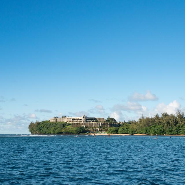 """Hotel on headland at Hanalei on Kauai Hawaii"" stock image"