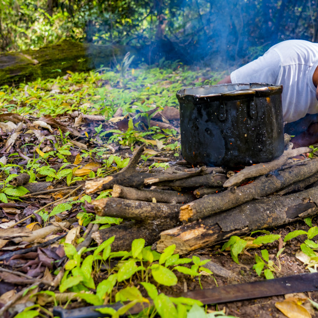 """Indigenous man cooking and blowing fire on a firewood in Peruvian Amazon"" stock image"