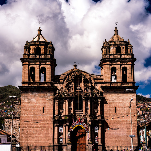 """Church at San Pedro Square in Cusco (Iglesia la Compania de Jesus), Peru"" stock image"