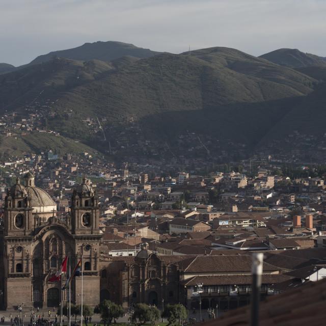 """Overview of Plaza de armas of Cusco, Viva el peru written in Mountain"" stock image"