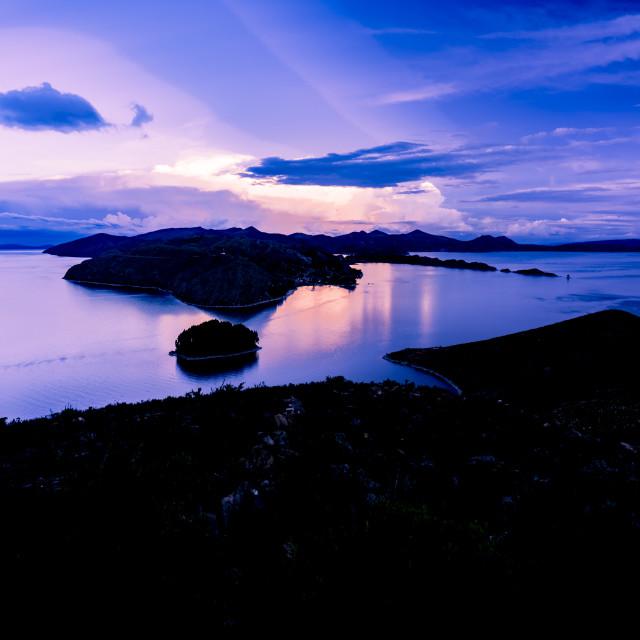 """Perfect sunset at Lake Titicaca on Isla del Sol (Island of the sun), Bolivia"" stock image"