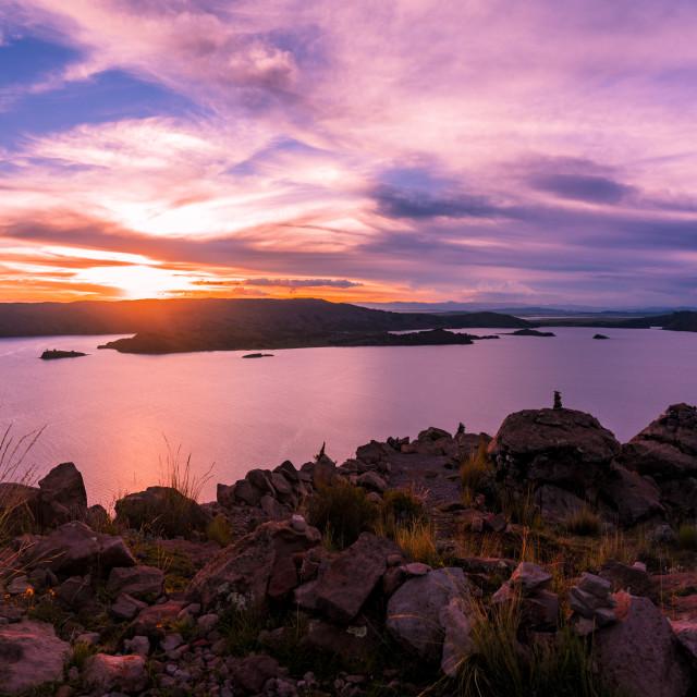 """""""Beautiful Sunset on Island Amantani on Lake Titicaca"""" stock image"""
