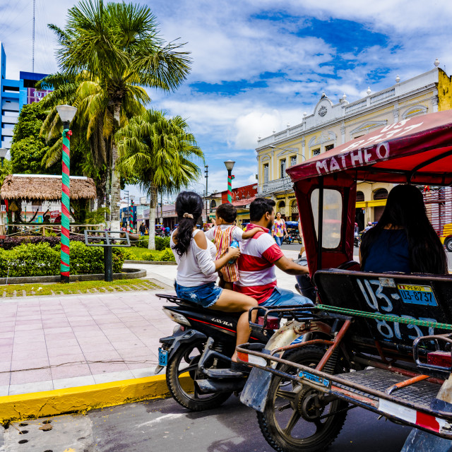 """Transportation by tuktuk tricycle taxi in iquitos"" stock image"