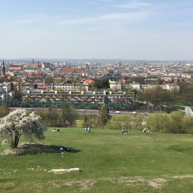 """""""Krakow: View from Krakus Mound"""" stock image"""