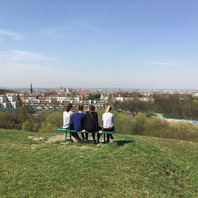 """""""Krakow: Krakus Mound"""" stock image"""