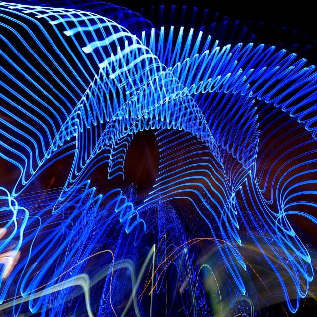 """Impression of the London Eye at night"" stock image"