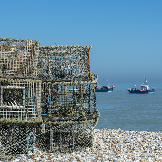 """""""Lobster pots on the beach at Selsey, West Sussex, UK"""" stock image"""