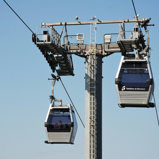 """Teleferic cable cars, Barcelona"" stock image"
