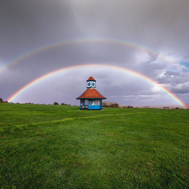 """Frinton Essex Double Rainbow"" stock image"