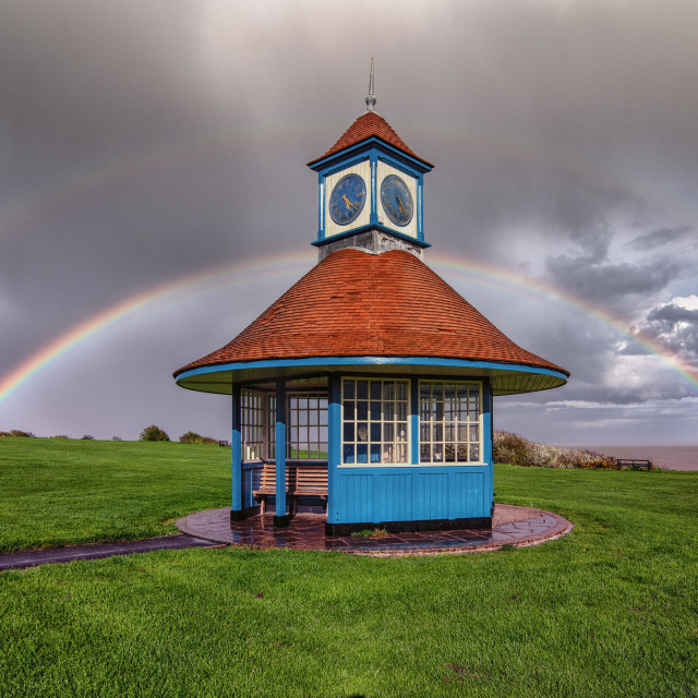 """Frinton Seaside Rainbow"" stock image"