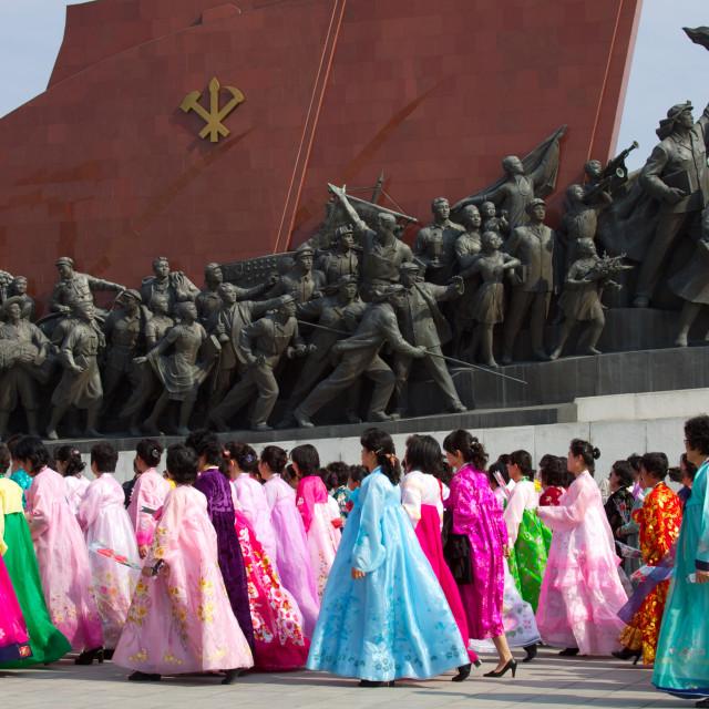 """Communist Statue, Pyongyang, North Korea"" stock image"