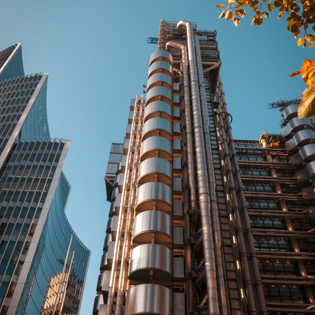 """View looking upwards of the The Lloyd's Building in London's financial district, The building was completed in 1986"" stock image"