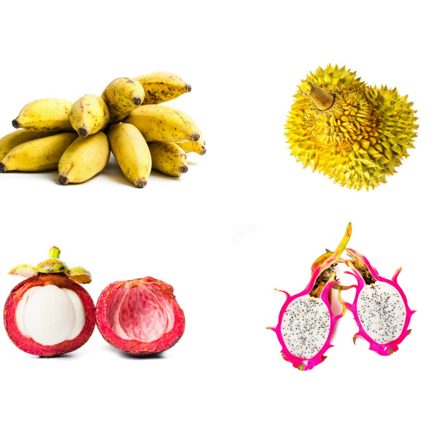 """""""Tropical fruit collage isolated on white"""" stock image"""