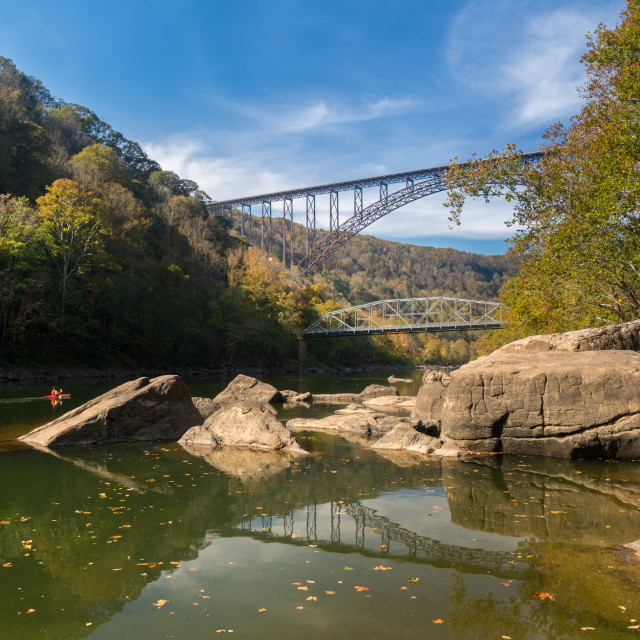 """Kayakers at the New River Gorge Bridge in West Virginia"" stock image"