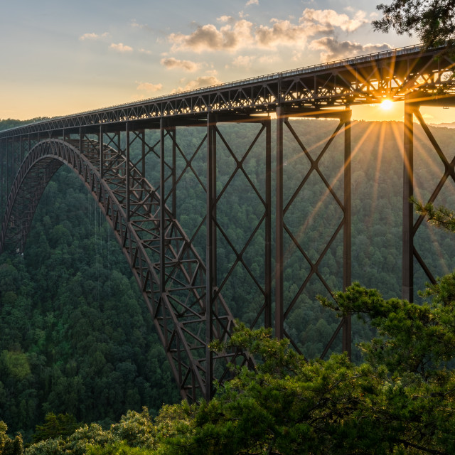 """Sunset at the New River Gorge Bridge in West Virginia"" stock image"
