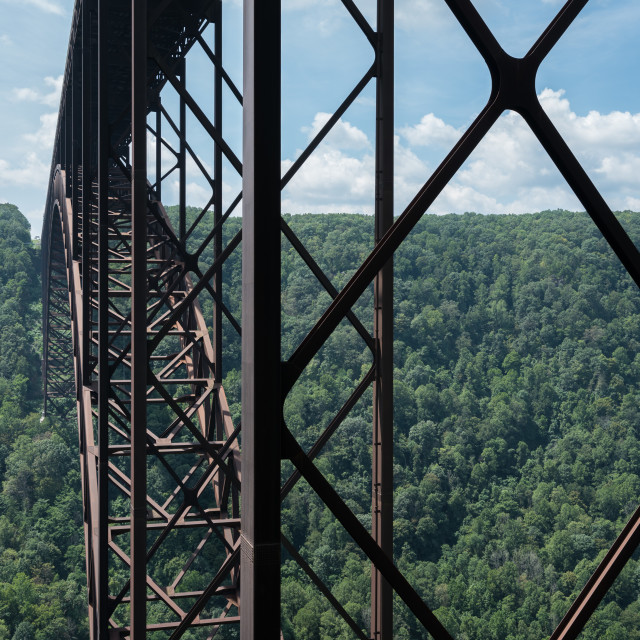 """Metal structure of the New River Gorge Bridge in West Virginia"" stock image"