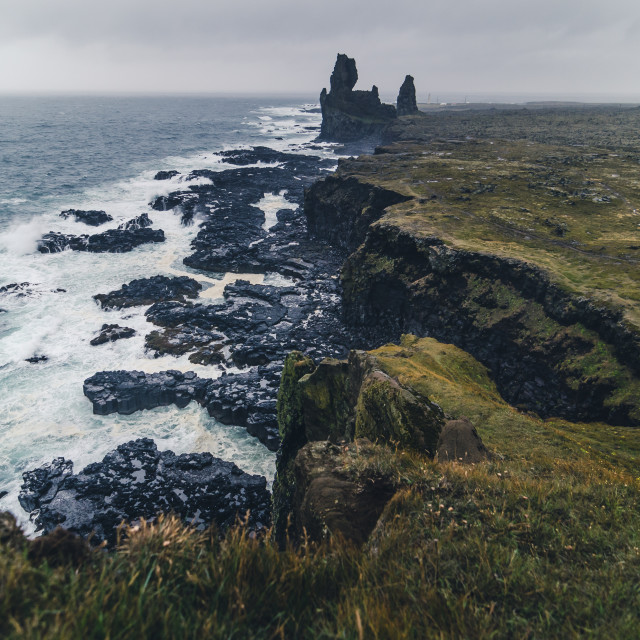 """stormy sea at Londrangar, Iceland"" stock image"