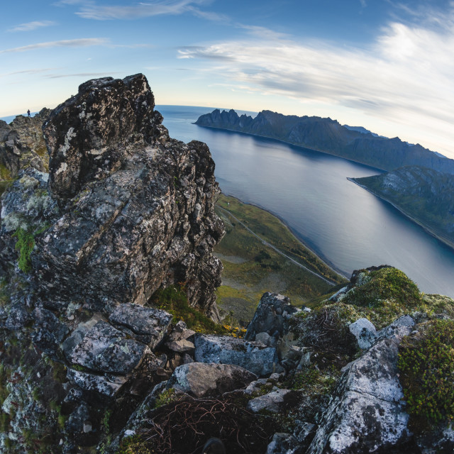 """mountain range of Senja island, Norway"" stock image"