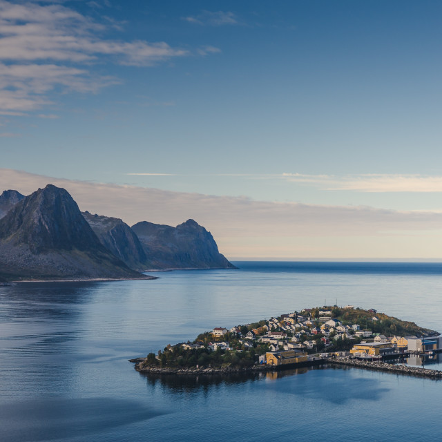 """""""small town of Husoy, Senja Norway"""" stock image"""