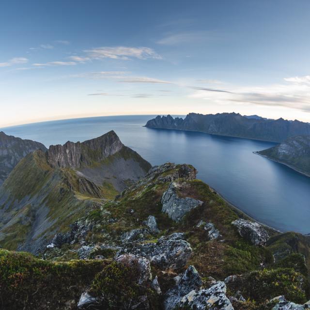 """mountain range of Senja island, Norway"" stock image"