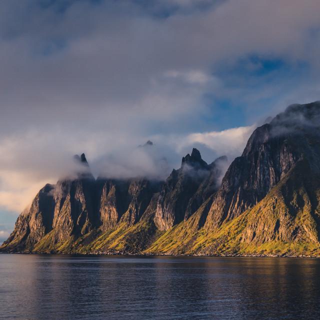 """""""Okshornan, Bull Horns range in Senja, Norway"""" stock image"""