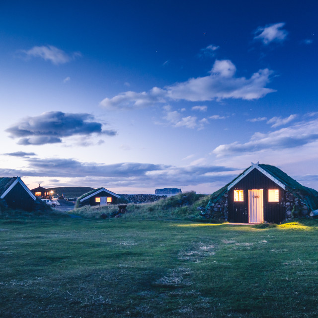 """traditional Iceland dwelling in the night"" stock image"